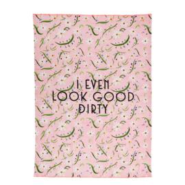 Rice Tea Towel - Delightful Daisies Print - Neon Piping
