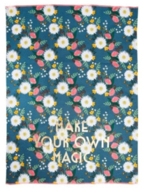 Rice Tea Towel - Wedding Bouquet Print - Neon Piping