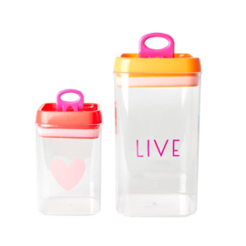 Rice Plastic Food Boxes with 'LIVE' - Set of 2 - Airtight Lid