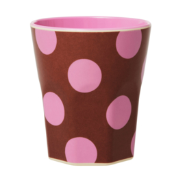Rice Jumbo Melamine Cup - Brown with Soft Pink Dots Print
