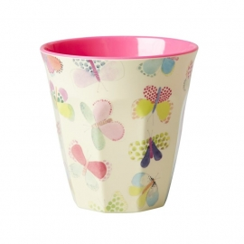 Rice Melamine Cup Two Tone with Butterfly Print