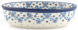 Bunzlau Oven Dish Oval 810 ml Blue White Love