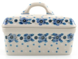 Bunzlau Butter Dish Blue White Love