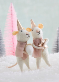Sass & Belle Star & Snowball Mice Felt Decoration -set van 2-
