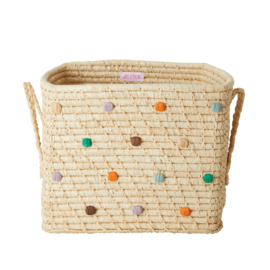 Rice Raffia Square Basket with Hand Embroidered Dots 'Follow the Call of the Disco Ball'- Natural