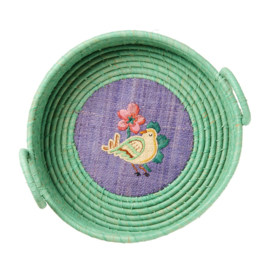Rice Raffia Bread Basket with Embroidery - Bird print