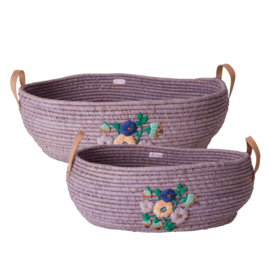 Rice Raffia Big Oval Basket with Embroidered Flowers and Leather Handles - Lavender
