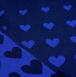 Bunzlau Tea Towel Hearts Dark Blue