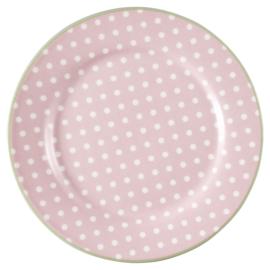 GreenGate Plate Spot pale pink -stoneware-