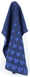 Bunzlau Tea Towel Hearts Dark Blue