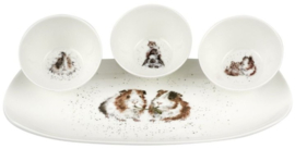 Wrendale Designs 'Guinea Pigs' 3 Bowl and Tray Set
