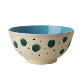 Rice Melamine Bowl with Watercolor Splash Print - Two Tone - Medium