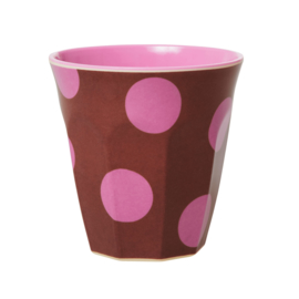 Rice Medium Melamine Cup - Brown with Soft Pink Dots Print