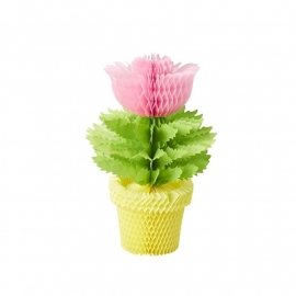 Rice Honeycomb Flowerpot in Pink Flower