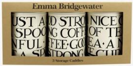 Emma Bridgewater Black Toast Set of 3 Tin Caddies