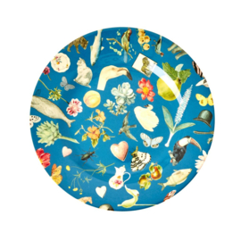 Rice Melamine Side Plate with Blue Art Print -bord met rand-