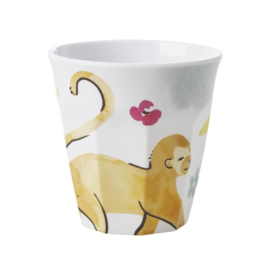 Rice Medium Melamine Cup - White - Monkey Print