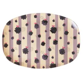 Rice Melamine Rectangular Plate - Blackberry Beauty Print