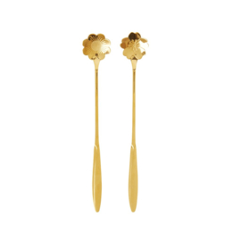 Rice Stainless Steel Long Spoon in 2 Assorted Flower Shapes - Gold - Set of 2