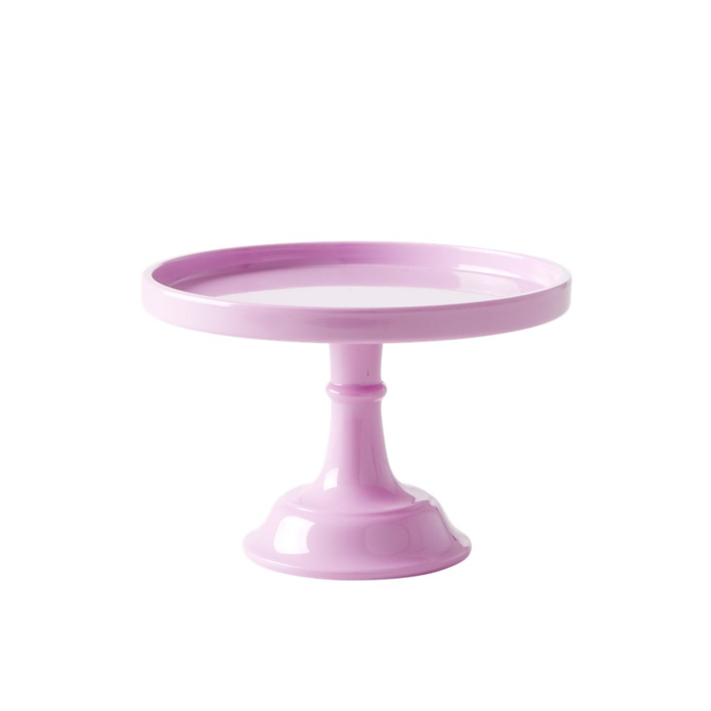 Rice Melamine Cake Stand with Stem - Pink - XSmall