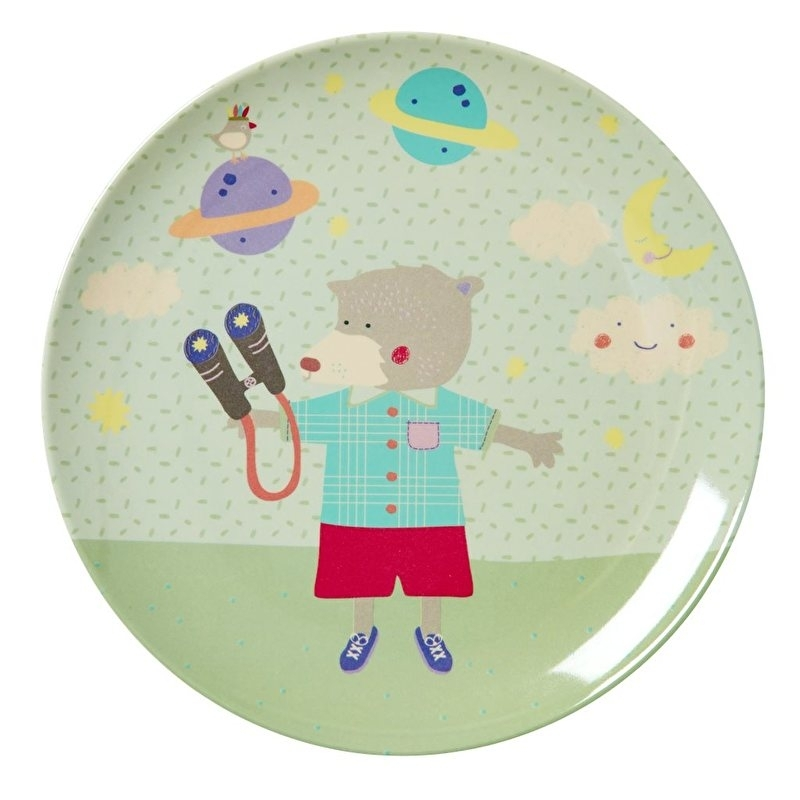 Rice Kids Melamine Lunch Plate with Boys Happy Camper Print