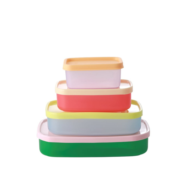 Rice Plastic Rectangular Food Boxes in 'Let's Summer' Colors  - 4 pcs.