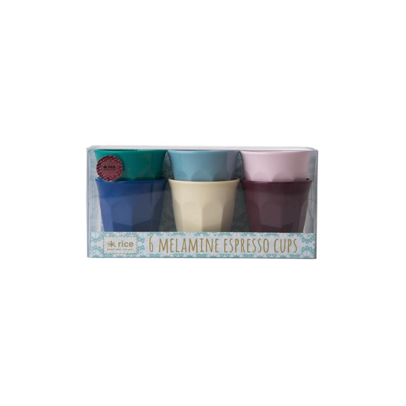 Rice Melamine Espresso Cups in 6 Assorted Urban Colors