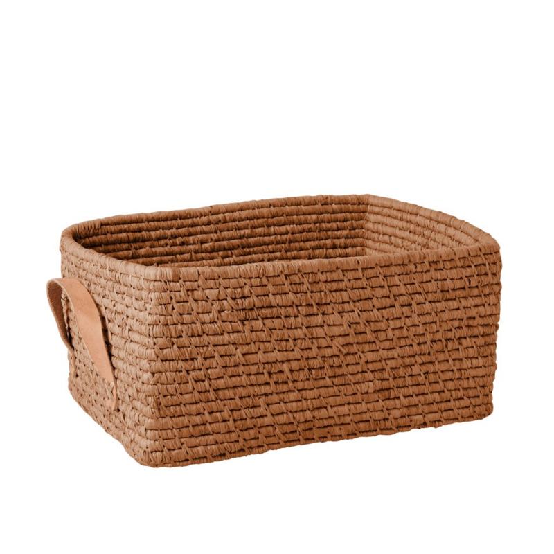 Rice Raffia Rectangular Basket with Leather Handles - Tea