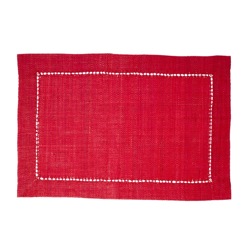 Rice Raffia Placemat in Red