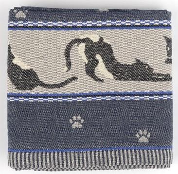 Bunzlau Tea Towel Cats Dark Blue