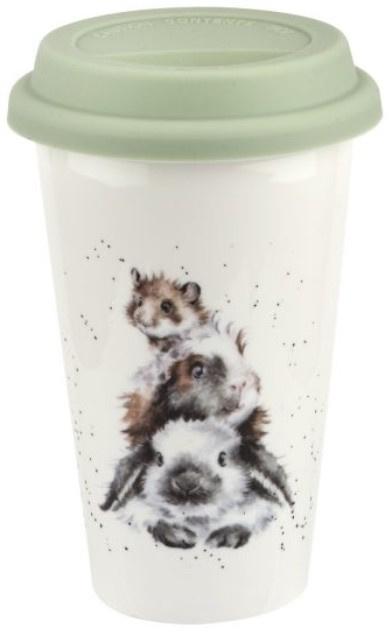 Wrendale Designs Travel Mug 'Piggy in the Middle' -konijn, cavia en muis-