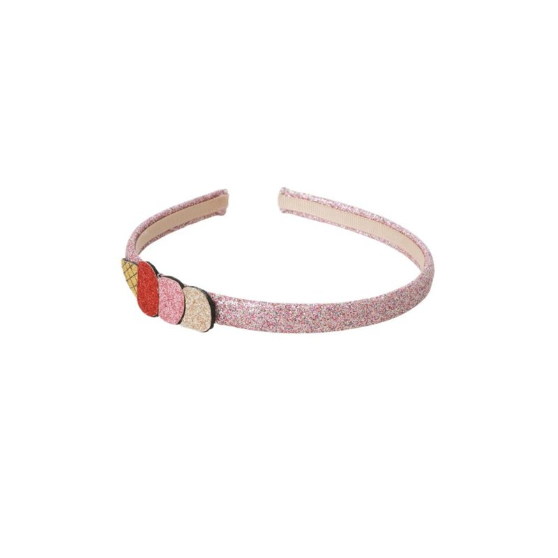 Rice Hairband with Ice Cream -Red, Pink and Gold-