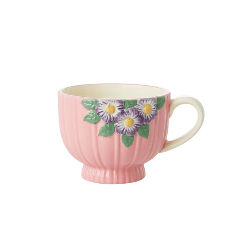 Rice Ceramic Mug with Embossed Pink Flower Design