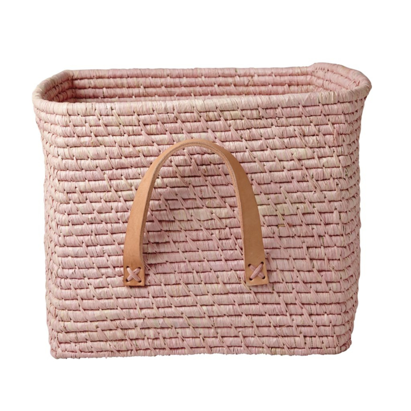 Rice Raffia Square Basket with Leather Handles - Soft Pink