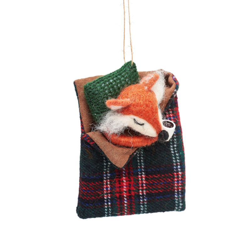 Sass & Belle Fox in Sleeping Bag Felt Decoration