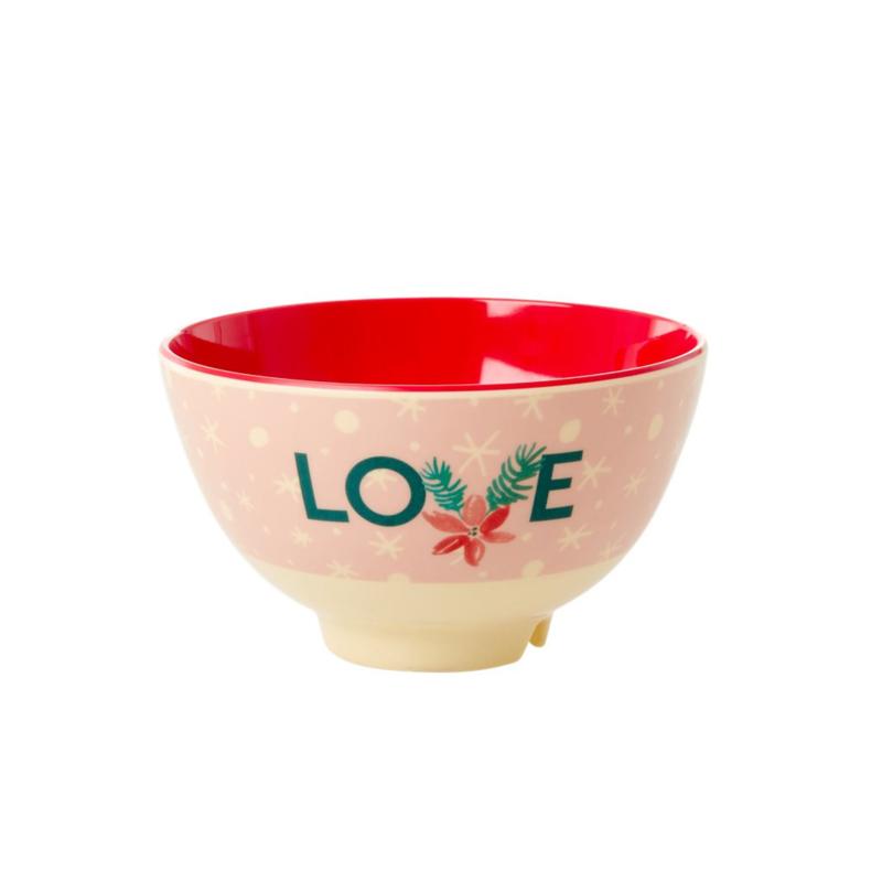 Rice Small Melamine Bowl - Love Xmas Print *vernieuwd model*