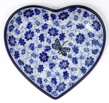 Bunzlau Heart Shape Dish Dragonfly