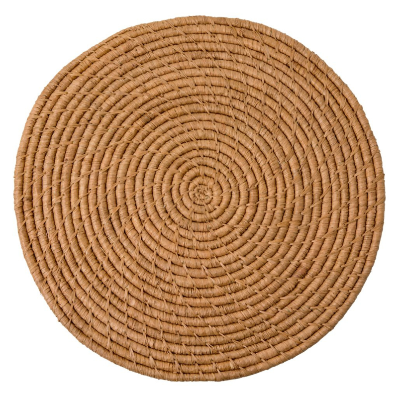 Rice Round Handmade Raffia Coaster - Tea - Large