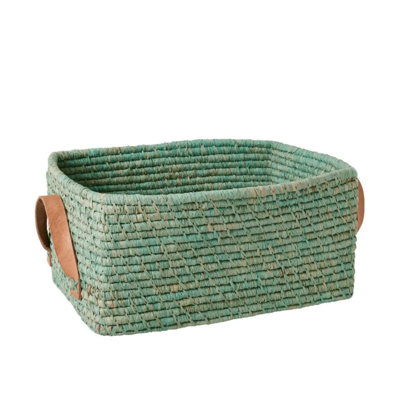 Rice Raffia Rectangular Basket with Leather Handles - Mint