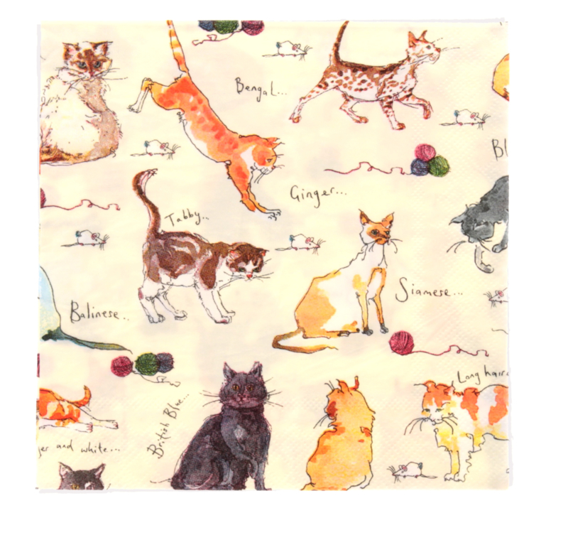 Ulster Weavers Paper Napkins Madeleine Floyd Cats - set of 20