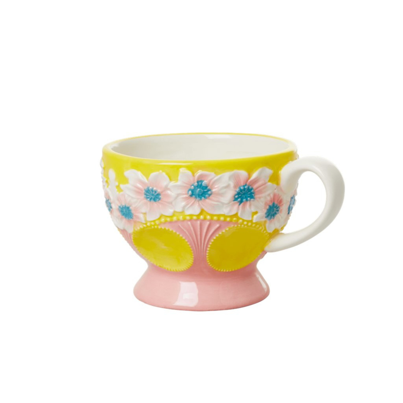 Rice Ceramic Mug with Embossed Yellow Flower Design