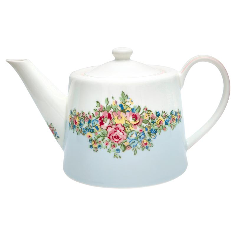 GreenGate Teapot Franka pale blue -stoneware-