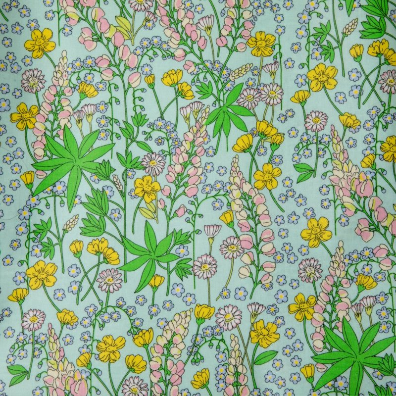Rice Oilcloth with Lupin Print