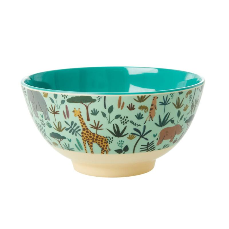 Rice Medium Melamine Bowl - Jungle Print Green Print *vernieuwd model*