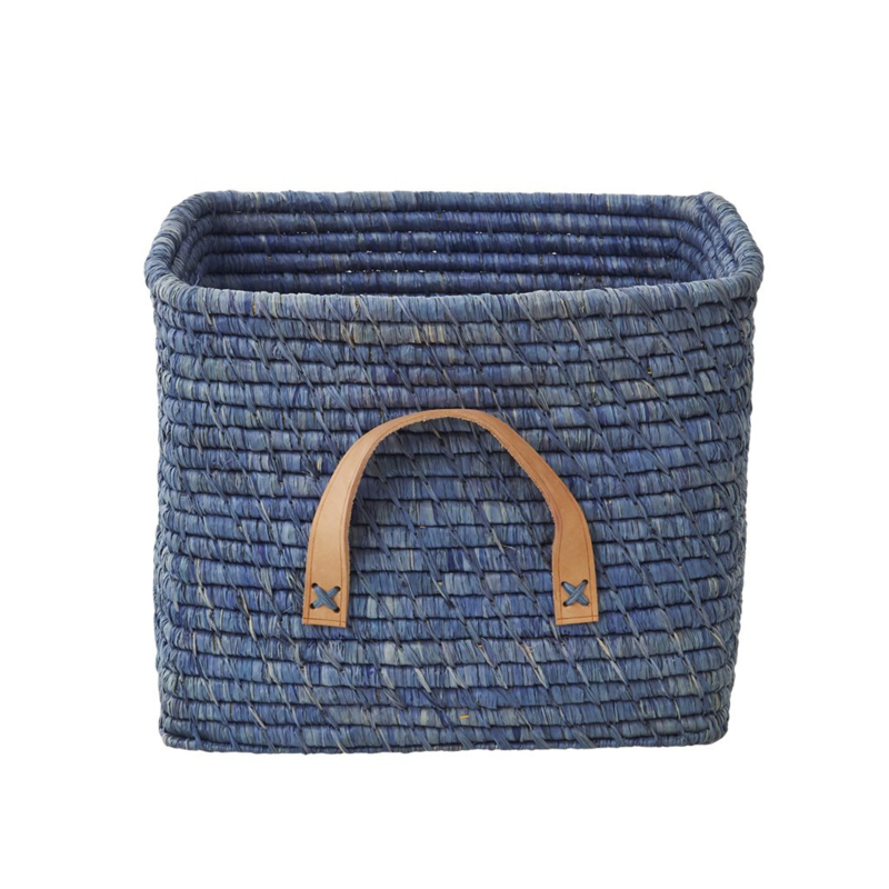 Rice Raffia Square Basket with Leather Handles - Blue