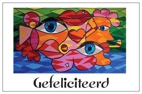 Cadeaukaartje met envelop EL Art Gefeliciteerd  -ogen-