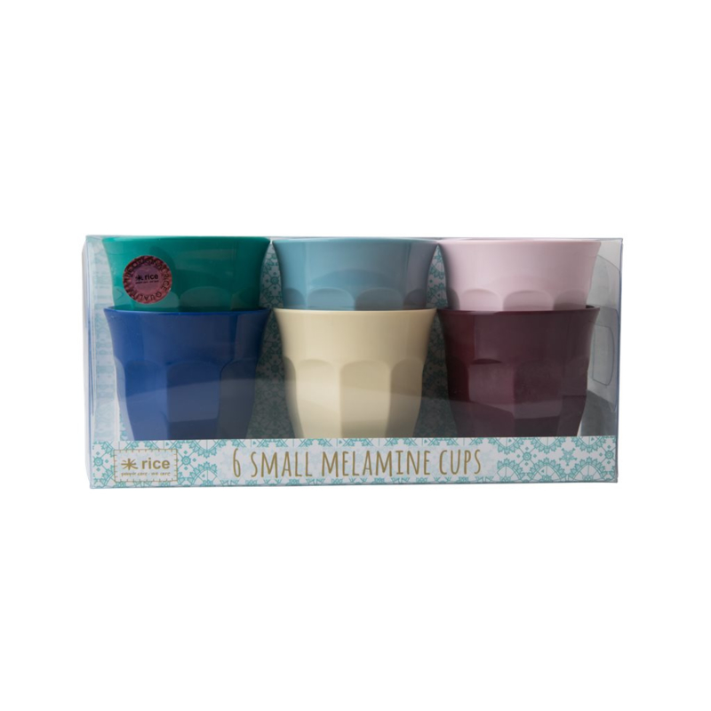 Rice Small Melamine Cup in 6 Assorted Urban Colors - 6 pcs.