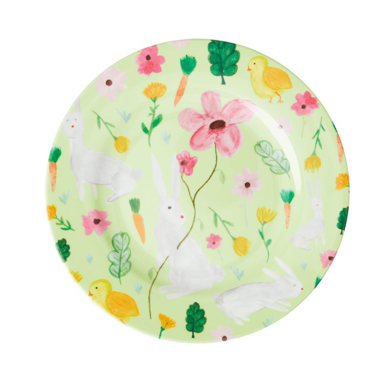 Rice Melamine Side Plate with Green Easter Print -bord met rand-