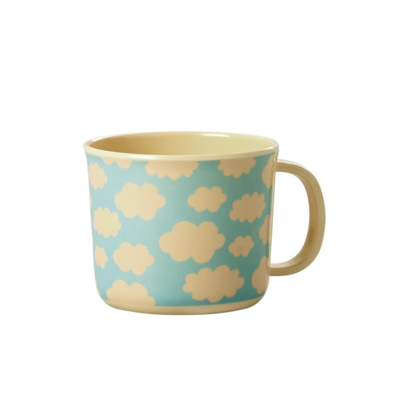 Rice Melamine Baby Cup with Cloud Print - Blue