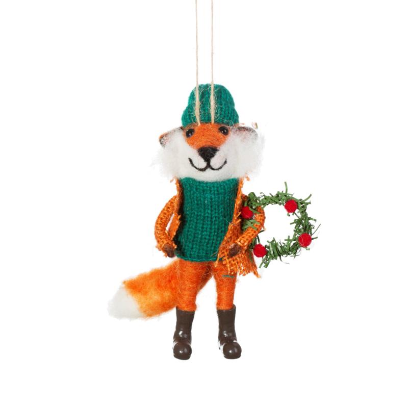 Sass & Belle Fox with Wreath Felt Decoration